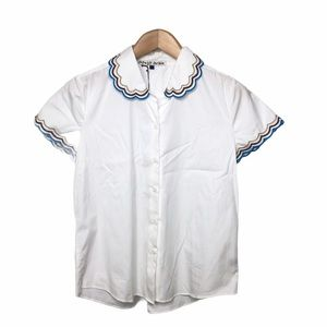 Jupe by Jackie Short Sleeve Blouse Scallop Collar